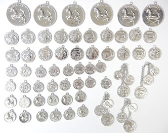 Lot of Quality Coin Currency Charms with Horses, Unicorn, Profile Silver-tone