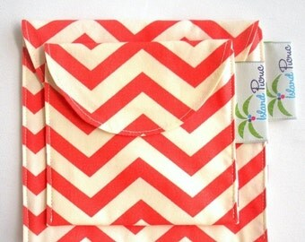 Back to School SALE Coral Chevron Sandwich and Snack Bags, Reusable, Organic Cotton, Eco Friendly - Set of 2 - Back to School