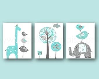 Blue turquoise and gray Nursery Wall Art Baby Boy room Decor elephant nursery giraffe art bird Tree Kids wall art - Set of three prints
