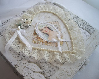Wedding Keepsake Box Memento For Bride Vintage Inspired Lace Ribbons Shower Gift Handmade by Handcaftusa Ready To Ship