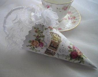 10% Off Coupon Code Roses Tussie Mussie Cone Bridal Shower Tea Garden Victorian Inspired Lace Pearls Roses Handmade by handcraftusa Etsy