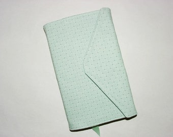 Paperback Book Cover Trade Size Fabric Bookcover Large Book Sleeve: Diamond Print Aqua Green