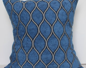 New 18x18 inch Designer Handmade Pillow Case. dusty blue, pewter and black fabric