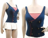 Vintage 60s Swimsuit Sailor Nautical Style PIn up Skirted Bathing Suit Xs S Swimwear