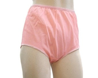 Vintage 60s 70s Panties Nylon Full Cut Double Nylon Pink Granny Panty High waist M