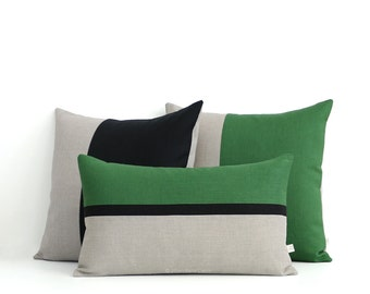 Green and Black Colorblock Pillow Cover Set of 3: Decorative Pillows by JillianReneDecor, Modern Home Decor, Striped Colorblock, Meadow
