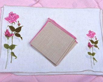 Gracious vintage linen placemats printed with roses, beige stitching, linen napkins, kitchen and dining, table linens, floral placemats