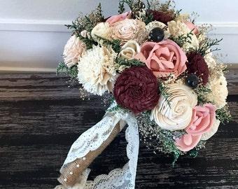 Burgundy, Blush Pink Wedding Bouquet made with sola flowers - choose your colors - Custom - Alternative bridal bouquet - bridesmaids bouquet