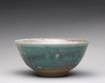 pottery tea bowl, small ceramic bowl with satin green and white glazes