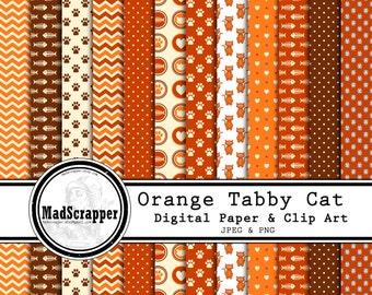 Digital Scrapbook Paper Orange Tabby Cat Paper and Clip Art 12 Patterns 4 Solids 12 x 12