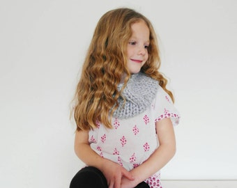Children's Neck Warmer Cowl Hand knitted in Light Gray Kids Fashion Winter Accessory