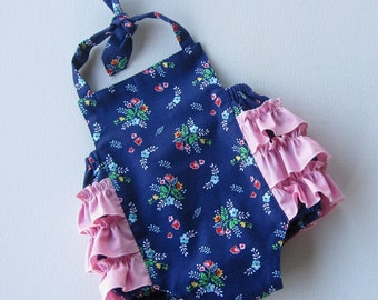 SALE Fancy Ruffle Romper Vintage Flowers- Size 6 months- Ready To Ship