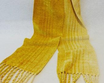 Handwoven Chenille Scarf, Chenille Scarf, Gold Scarf, Gold Chenille Scarf, Woven Chenille Scarf, Scarf - Fibonacci Gold/Natural (#12-02)