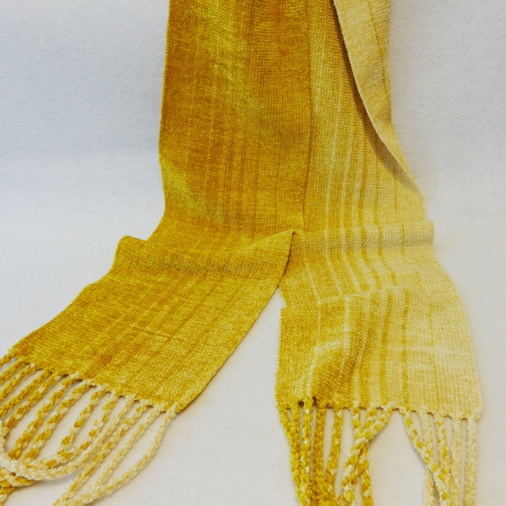 handwoven chenille scarf chenille scarf gold scarf gold