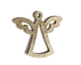 1pc-Matte Silver Plated Angel Pendant-70x68mm-(419-041)