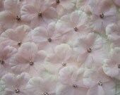 36 pc Hand Dyed BLUSH PINK Hydrangea boutique petal flowers with rhinestone centers Bridal Baby Christening