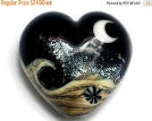 ON SALE 30% OFF Sable Celestial Heart (Large) - Handmade Glass Lampwork Beads - 11832825
