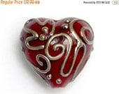 ON SALE 30% OFF Red w/Metal Color String Heart -11807205-Handmade Glass Lampwork Bead