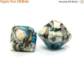 ON SALE 30% OFF Glass Lampwork Bead Set - Five Turquoise Silver Ivory Bicone Beads 11605607