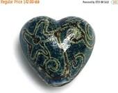 ON SALE 30% OFF Green w/Stringer Heart Focal Bead - Handmade Glass Lampwork Bead 11808405