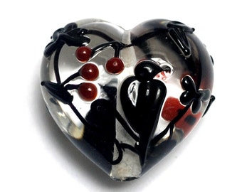 Tranquility Vines Heart (Large) - Handmade Glass Lampwork Bead 11830325