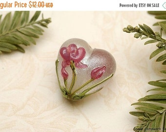ON SALE 30% OFF Fuchsia Flower Heart Focal Bead - Handmade Glass Lampwork Bead 11832005