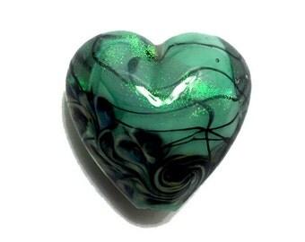 NEW! Handmade Glass Lampwork Bead - 11837405 Seafoam Shimmer Heart