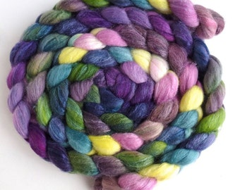 Merino/ Superwash Merino/ Silk Roving (Top) - Handpainted Spinning or Felting Fiber, Spring Spirit
