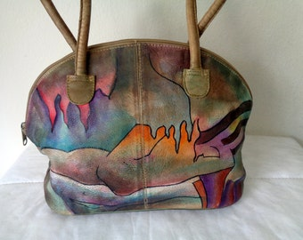 Hand painted , hand made dome style bag  ,genuine  thick soft leather, top zip tote ,hand bag ,purse, vintage 80s New wave awesome