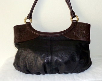 Gianni Bini buttery genuine leather embossed  detaildual strap hobo satchel bag purse vintage early 90s pristine MINT cond