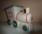 Vintage Railroad Train Choo Choo Abingdon Pottery Train Cookie Jar Retro Kitchenalia