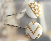 Fabric Button Bobby Pin, Large White Gold Aztec Tribal Ethnic Minimalist Chevron Hair Barrette Bobby Pin , Retro Hair Pin