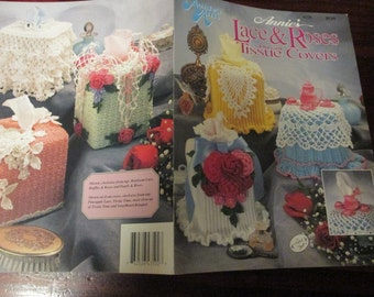 Thread Crochet Patterns Lace & Roses Tissue Covers Annie's Attic 435B Crocheting Pattern Leaflet