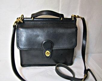 Leather Coach purse Willis style messenger bag  Vintage Coach purse Black leather purse.