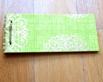 25 page notepad - lime green - gold medallion accents print