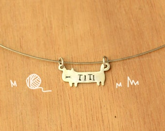 Kitty with name stamped-Personalized Pet Necklace-Sterling Silver-Animal Cat Pendant