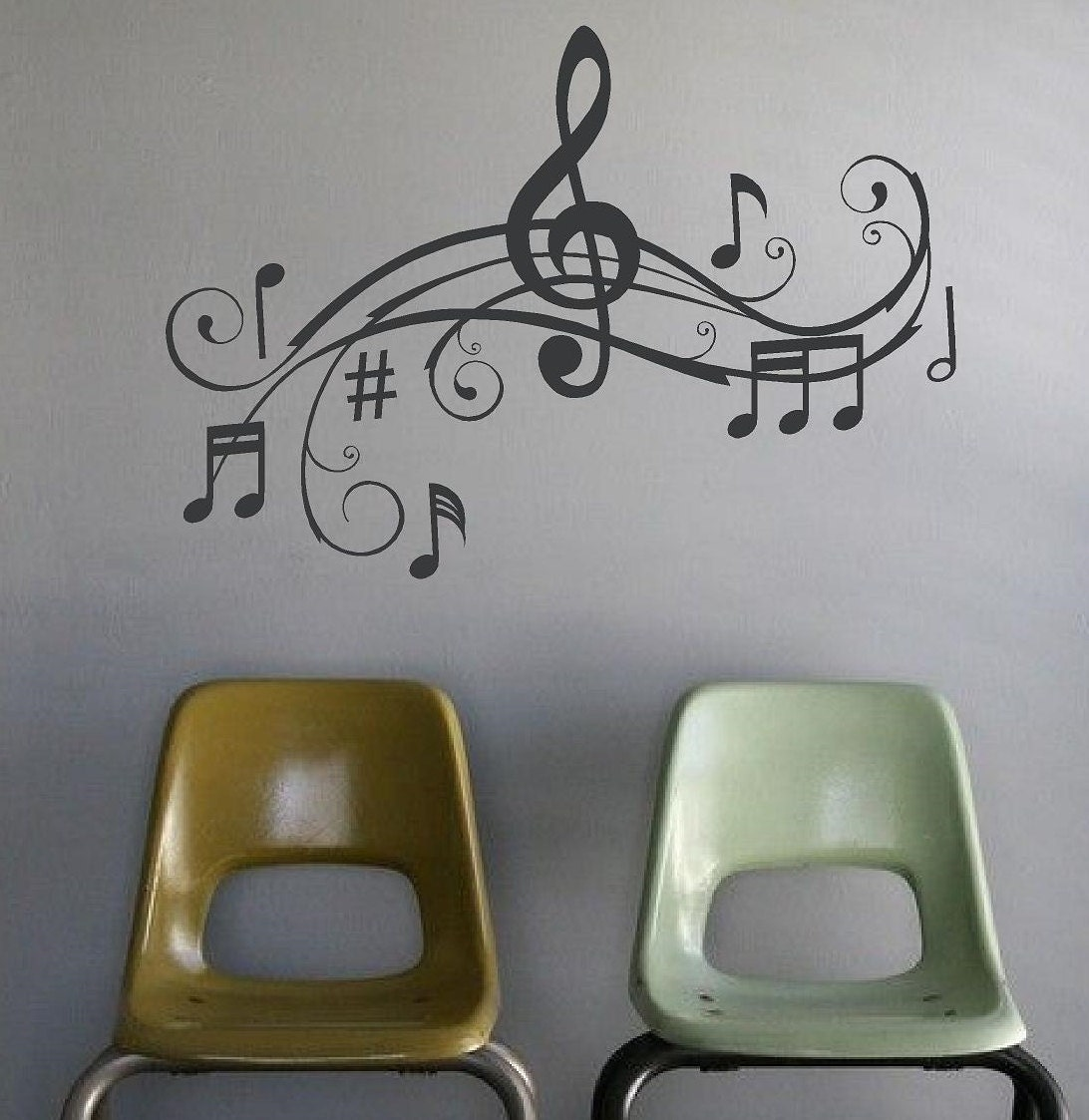 Wall Decor With Words : Music notes wall art words vinyl lettering stickers