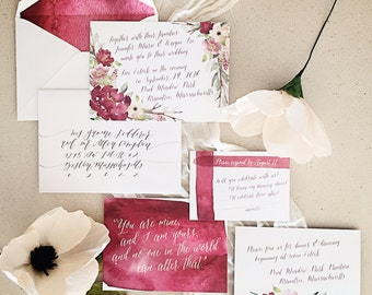 Blush & Burgundy Floral Watercolor Wedding Invitations
