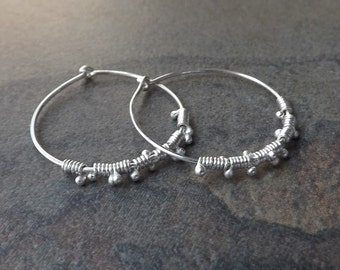 Silver Hoop Earrings, Sterling Silver Wire Wrap Hoops, Simple Dewdrop Hoops Eco Friendly Womens jewelry gift