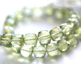 SPARKLY 6 mm, Mystic Peridot Quartz Gemstone Pillow Cut Cube Beads, Half Strand, 16 Beads