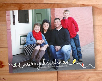 Photo Christmas Card, Merry Christmas, Loopy Script, Swirly, Twirly, Doodle, Modern Photo card, Happy New Year, christmas photo cards