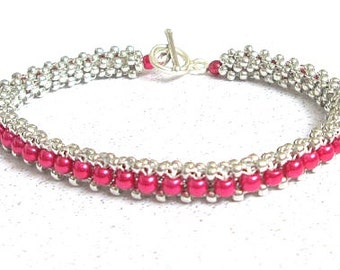 fuchsia beaded bracelet pearl beaded bracelet sterling silver bangle