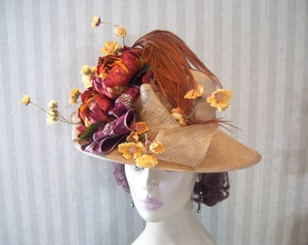 Brown Beauty Kentucky Derby Hat, Victorian, Downton Abbey Hat, Edwardian By Ms.Purdy 0257