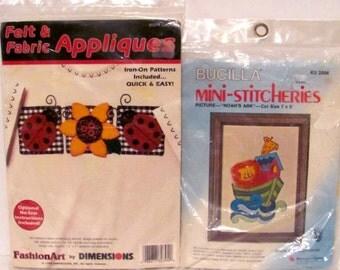 Bucilla Mini-Stitcheries and Felt and Fabric Appliques Kits