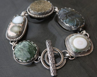 ocean jasper, labradorite, gold druzy, seraphinite and sterling silver metalwork link bracelet