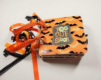 Halloween Mini Album, Halloween Scrapbook, Premade Album, Halloween Brag Book, Halloween Photo Album, Chipboard Album, 4x4, Memory Book