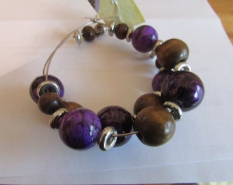 brown and purple beaded dangle earrings