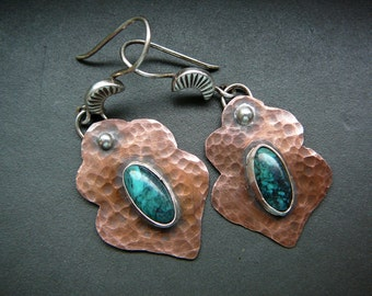 Morrocan earrings - copper, sterling silver , fine silver and turquoise