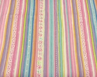 Funky Stripe fabric | Cotton Twill fabric | Pink Purple Blue White