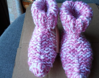 Hand Knitted chunky childs pixie  slipper boots